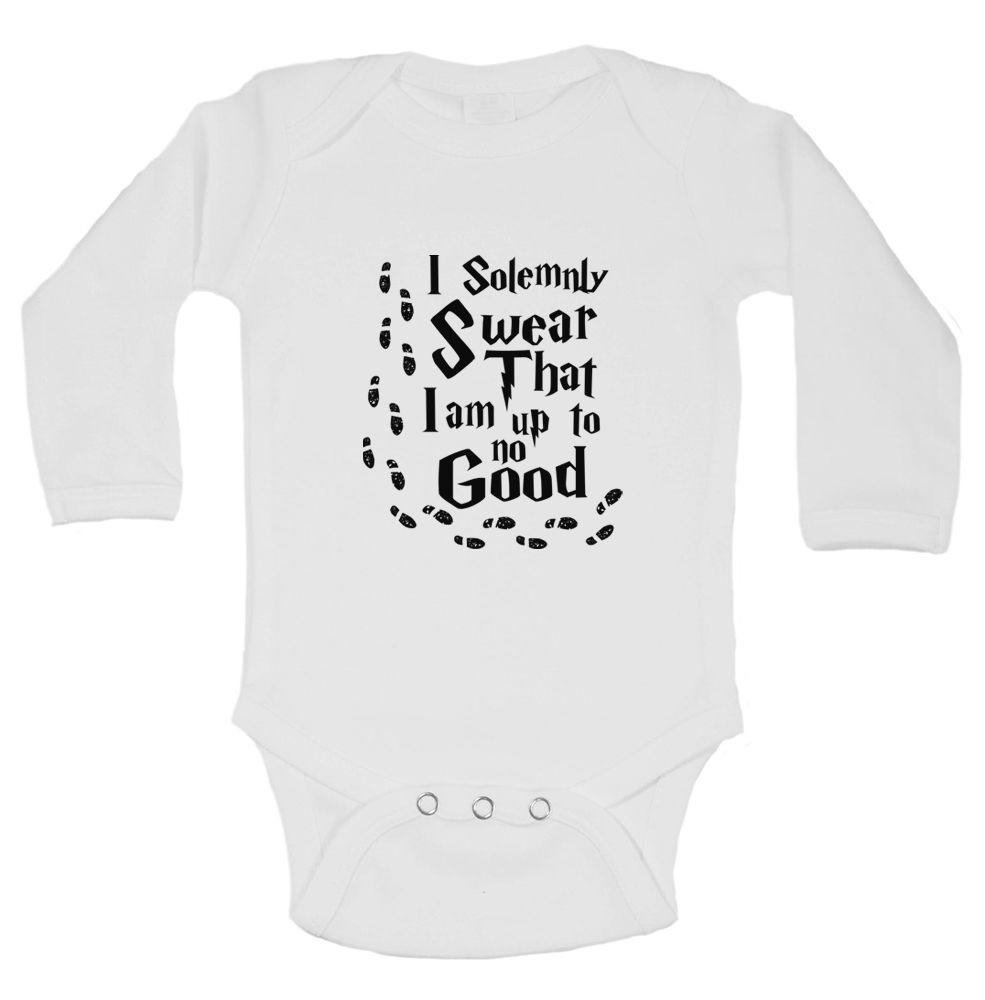 I Solemnly Swear That I Am Up To No Good Funny Kids Onesie Funny Shirt Long Sleeve 0-3 Months