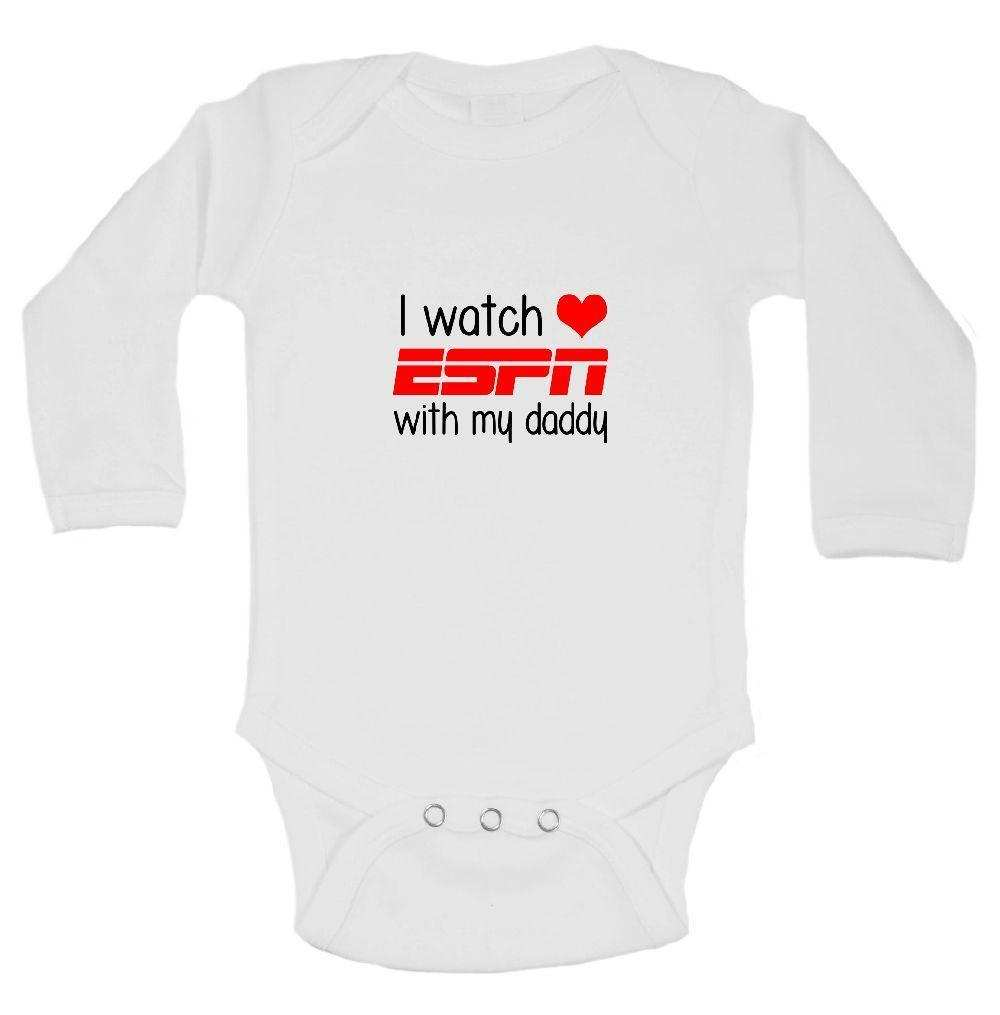 I Watch ESPN With My Daddy Funny Kids Onesie Funny Shirt Long Sleeve 0-3 Months