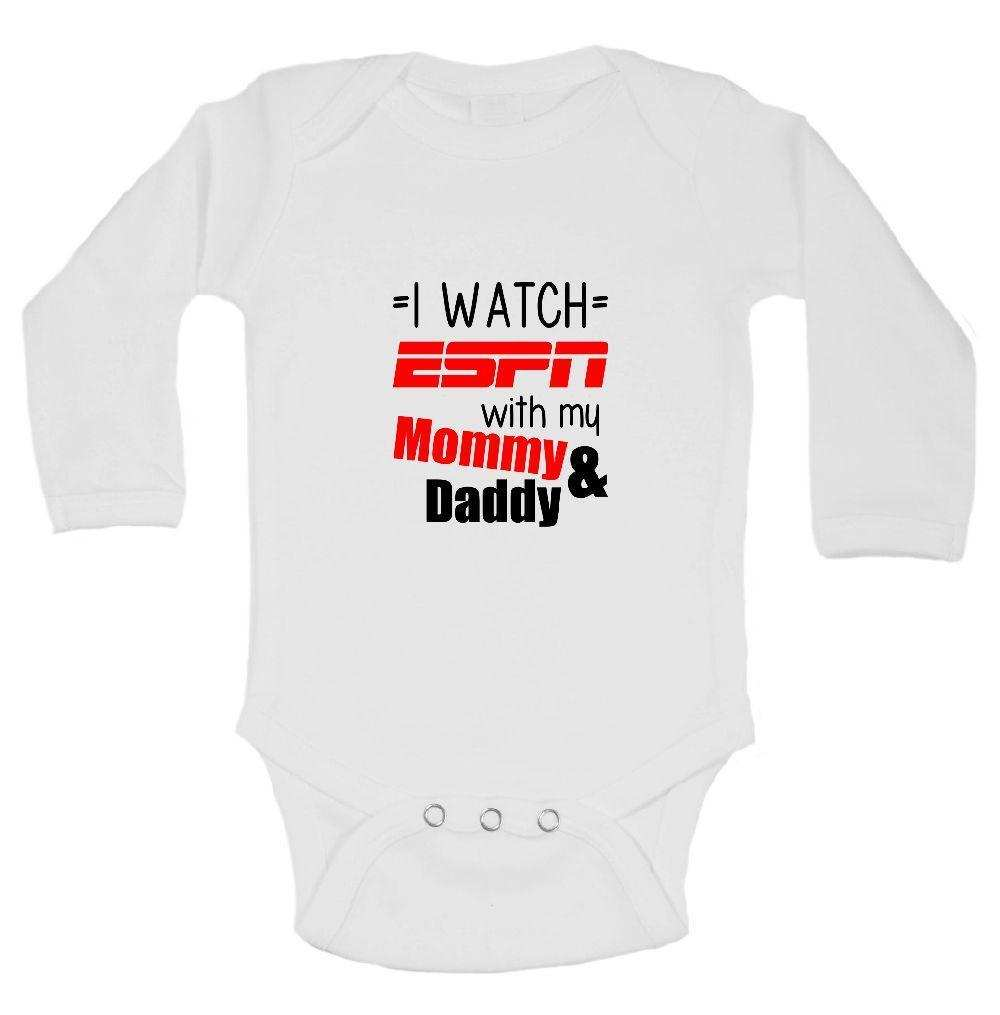 I Watch ESPN With My Mommy & Daddy Funny Kids Onesie Funny Shirt Long Sleeve 0-3 Months