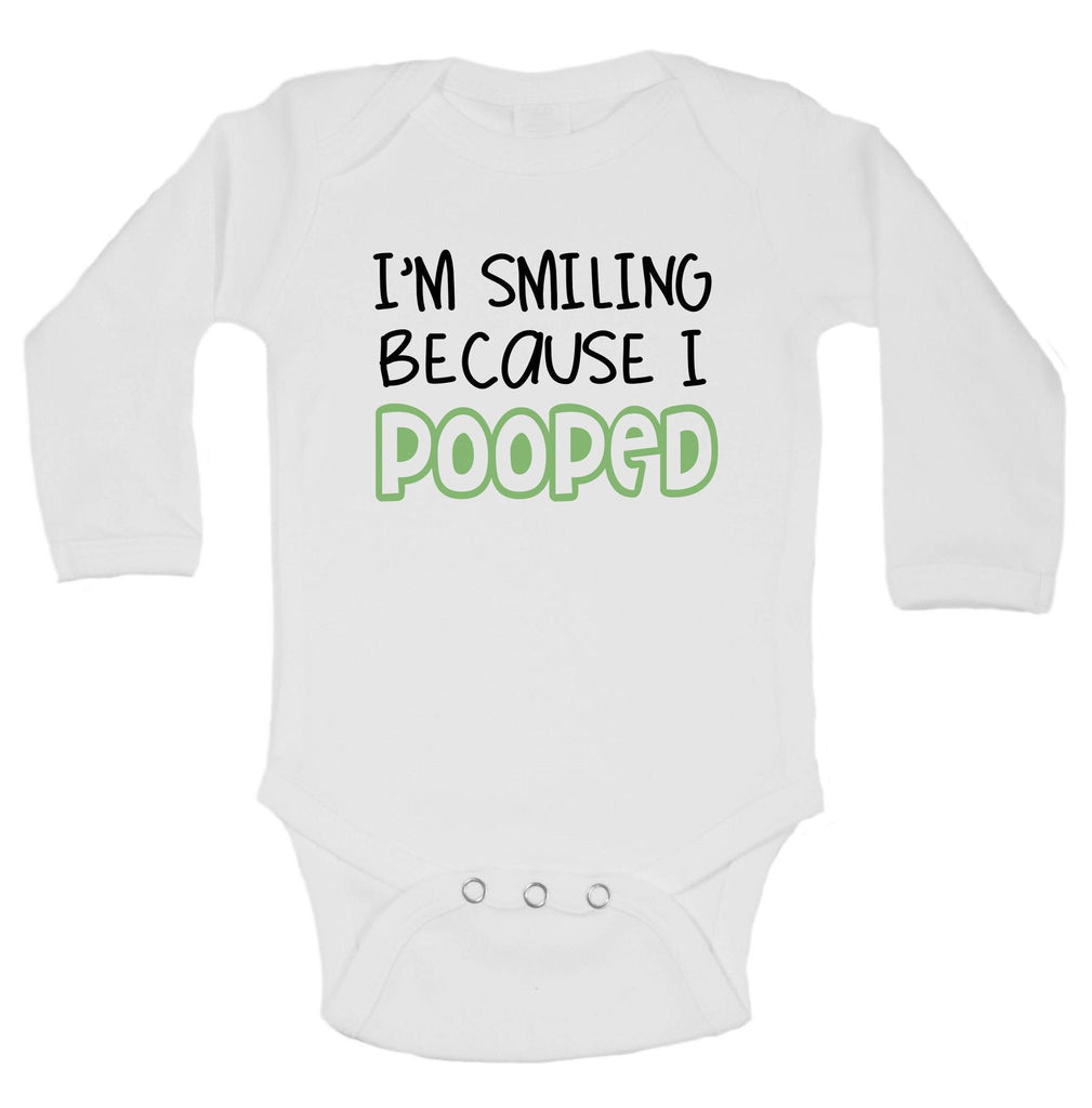 I'm Smiling Because I Pooped Funny Kids Onesie Funny Shirt Long Sleeve 0-3 Months