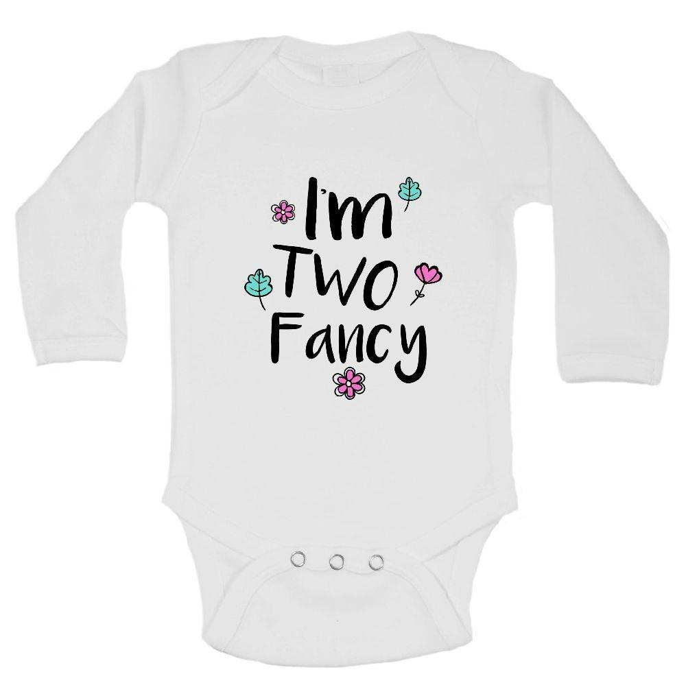 I'm Two Fancy FUNNY KIDS ONESIE Funny Shirt Long Sleeve 0-3 Months