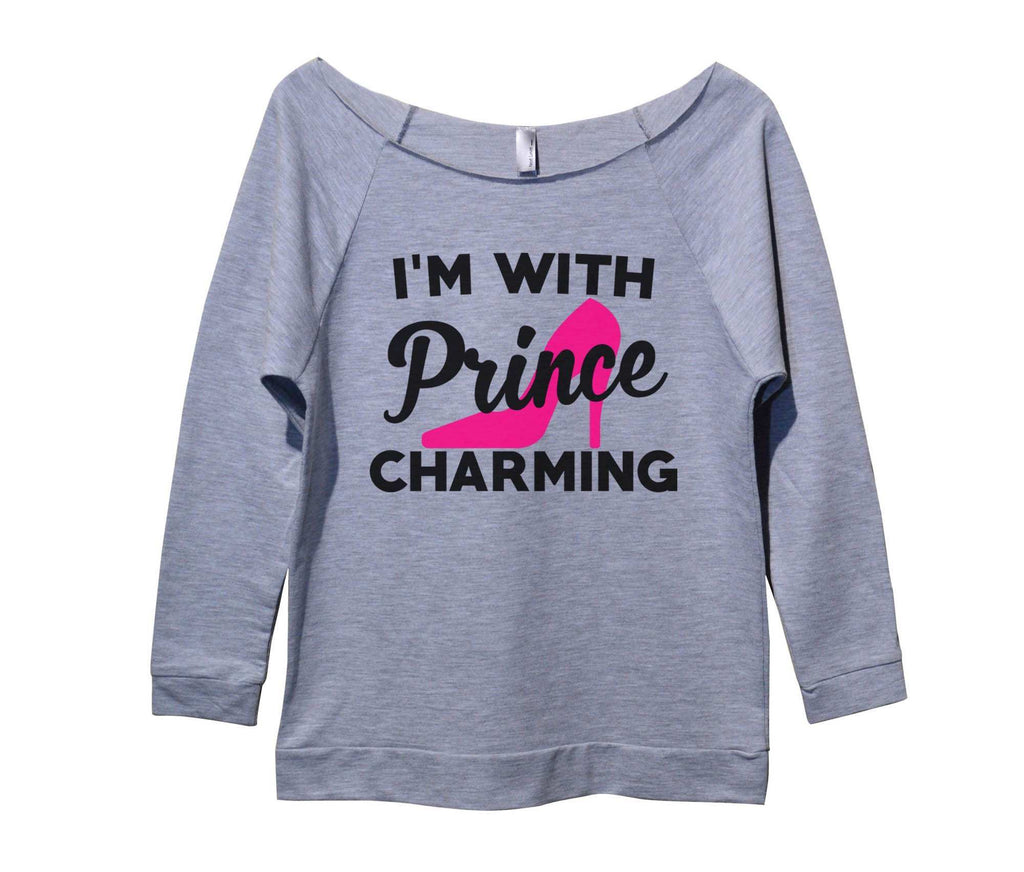 I'm with Prince Charming Womens 3/4 Long Sleeve Vintage Raw Edge Shirt Funny Shirt Small / Grey