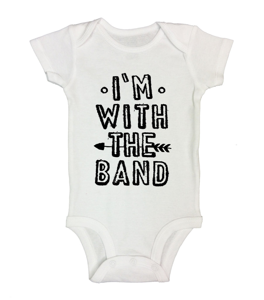 I'm With The Band Funny Kids Onesie Funny Shirt Short Sleeve 0-3 Months