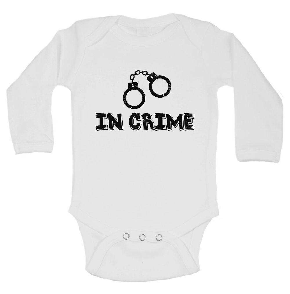 In Crime FUNNY KIDS ONESIE Funny Shirt Long Sleeve 0-3 Months