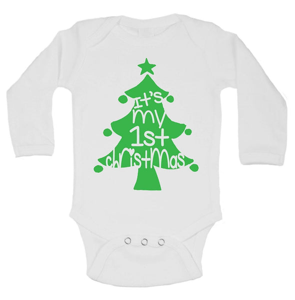 It's My 1st Christmas Funny Kids Onesie Funny Shirt Long Sleeve 0-3 Months