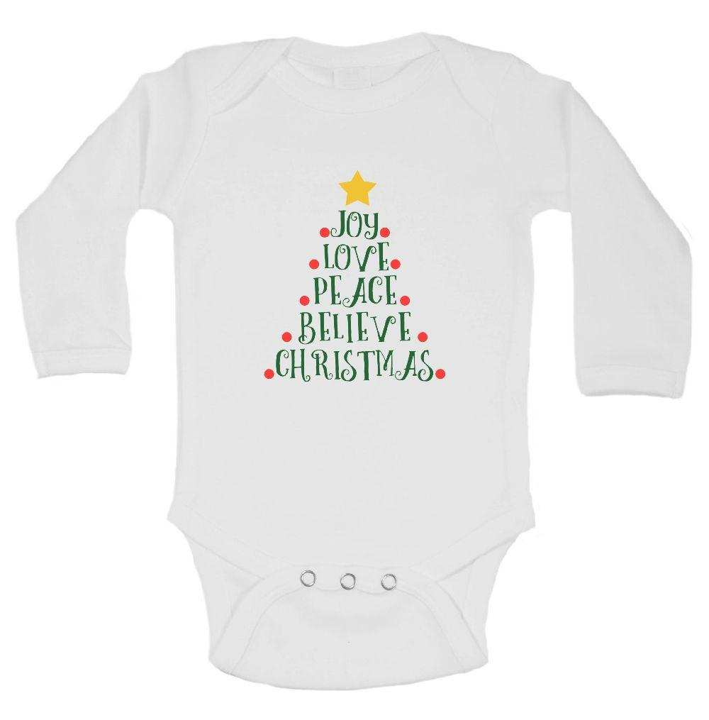 Joy Love Peace Believe Christmas FUNNY KIDS ONESIE Funny Shirt Long Sleeve 0-3 Months