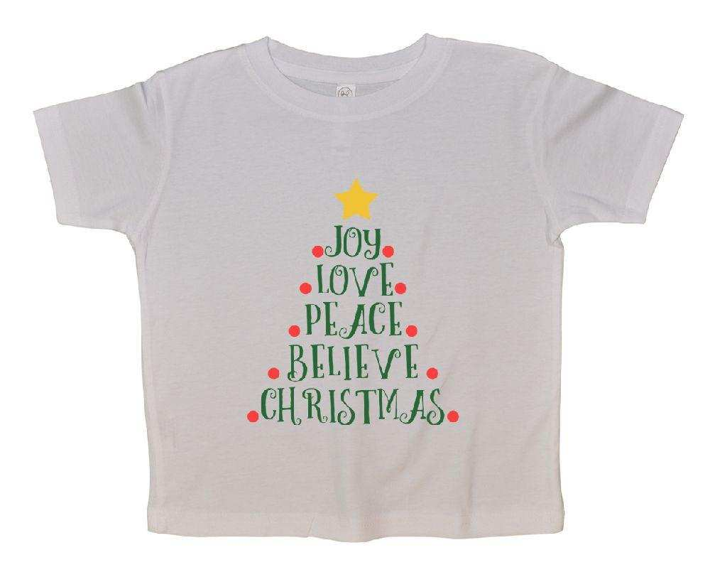 Joy Love Peace Believe Christmas FUNNY KIDS ONESIE Funny Shirt 2T White Shirt