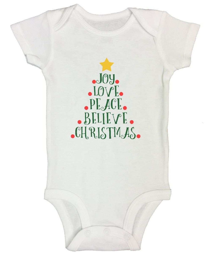 Joy Love Peace Believe Christmas FUNNY KIDS ONESIE Funny Shirt Short Sleeve 0-3 Months