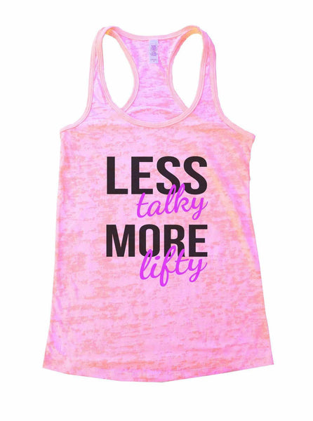 Less Talky More Lifty Burnout Tank Top By Funny Threadz Funny Shirt Small / Light Pink