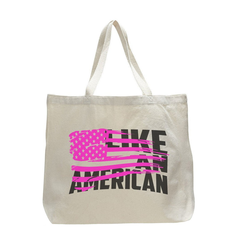 Like An American - Trendy Natural Canvas Bag - Funny and Unique - Tote Bag Funny Shirt