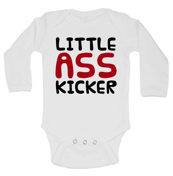 Little Ass Kicker Funny Kids Onesie Funny Shirt Long Sleeve 0-3 Months
