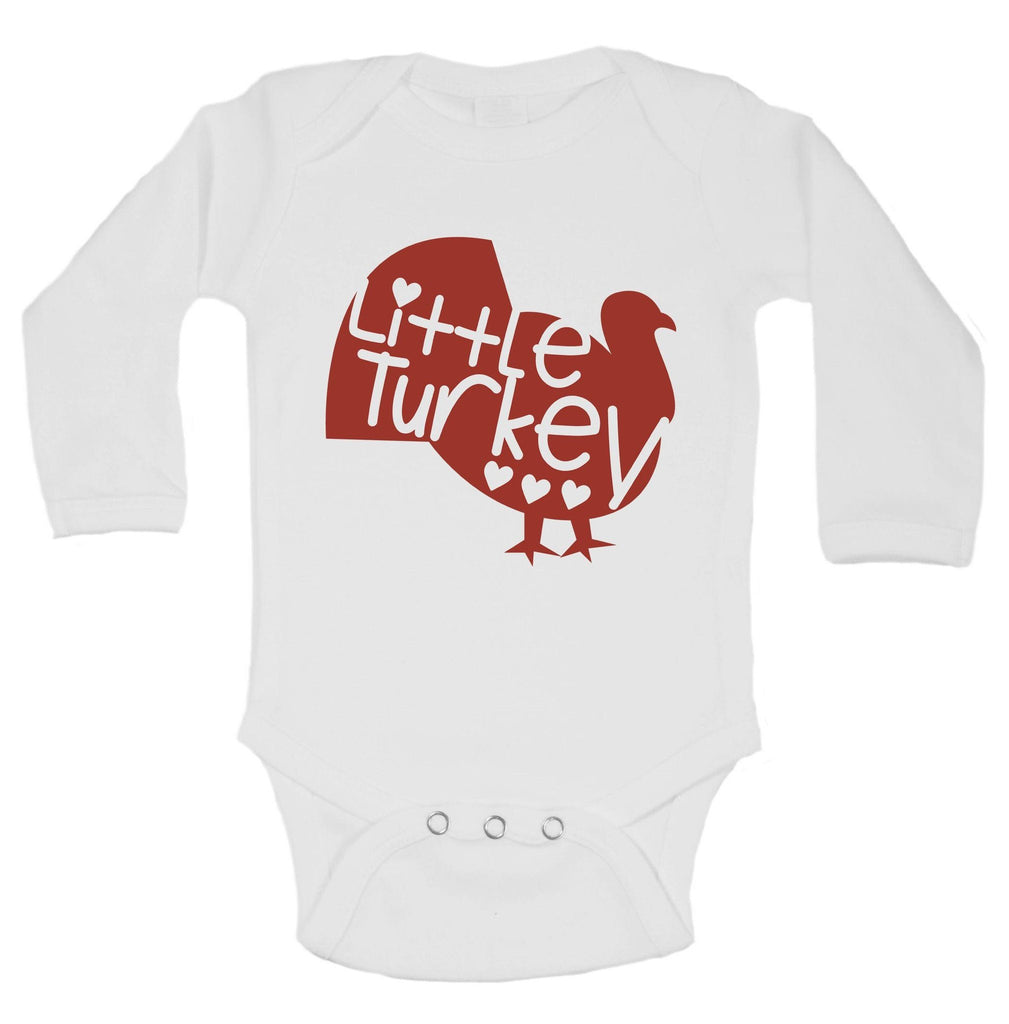 Little Turkey Funny Kids Onesie Funny Shirt Long Sleeve 0-3 Months