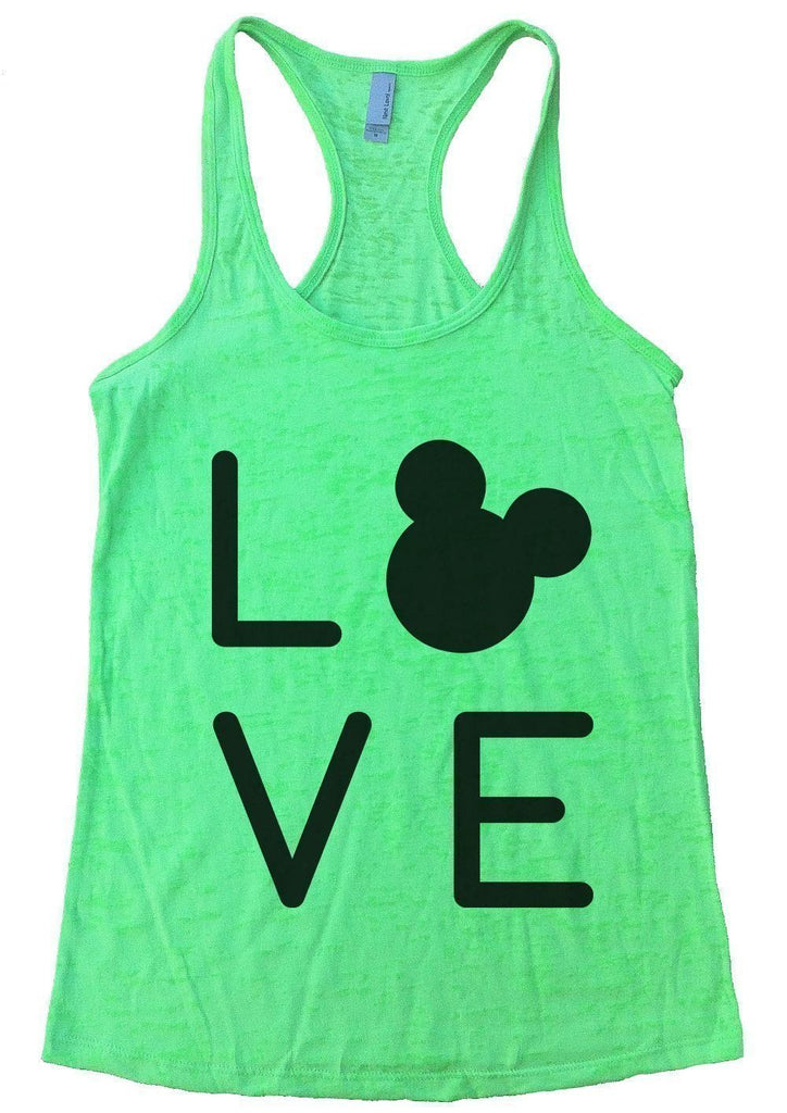 LOVE Burnout Tank Top By Funny Threadz Funny Shirt Small / Neon Green