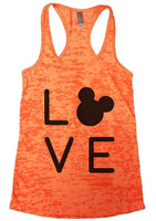 LOVE Burnout Tank Top By Funny Threadz Funny Shirt Small / Neon Orange