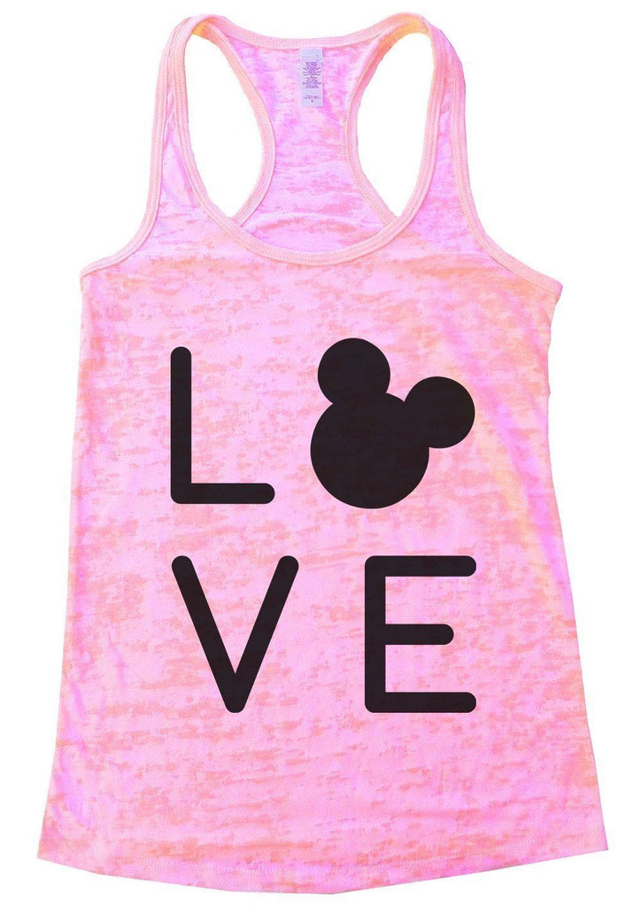 LOVE Burnout Tank Top By Funny Threadz Funny Shirt Small / Light Pink