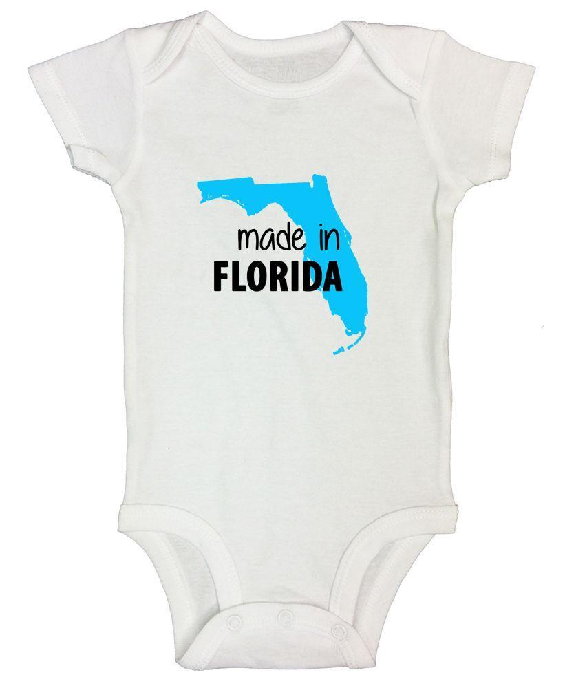 Made In Florida Funny Kids Onesie Funny Shirt Short Sleeve 0-3 Months