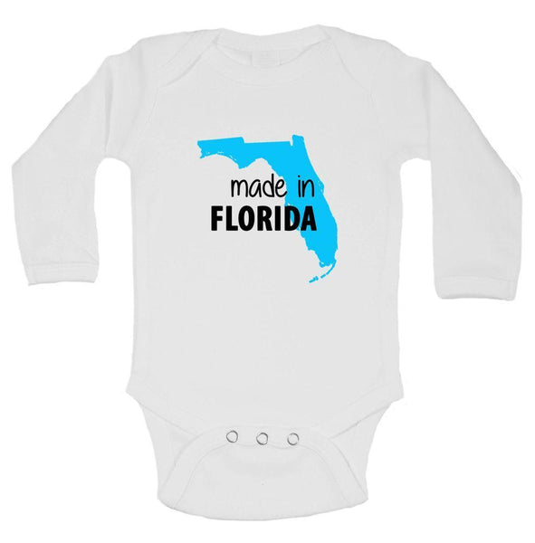 Made In Florida Funny Kids Onesie Funny Shirt Long Sleeve 0-3 Months