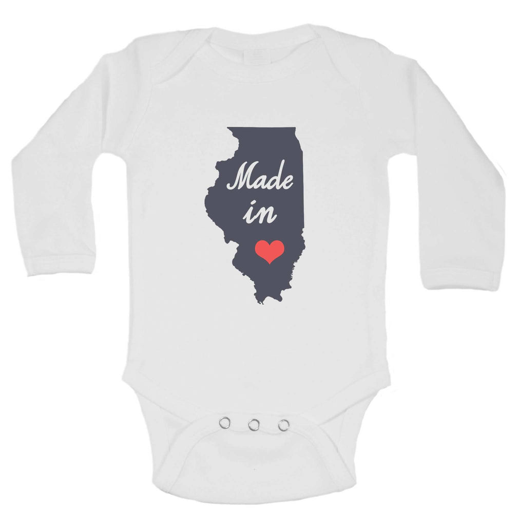 Made In Love Funny Kids Onesie Funny Shirt Long Sleeve 0-3 Months