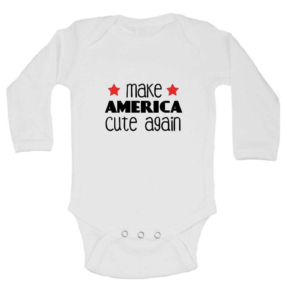 Make America Cute Again Funny Kids Onesie Funny Shirt Long Sleeve 0-3 Months