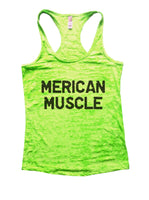 Merican Muscle Burnout Tank Top By Funny Threadz Funny Shirt Small / Neon Green