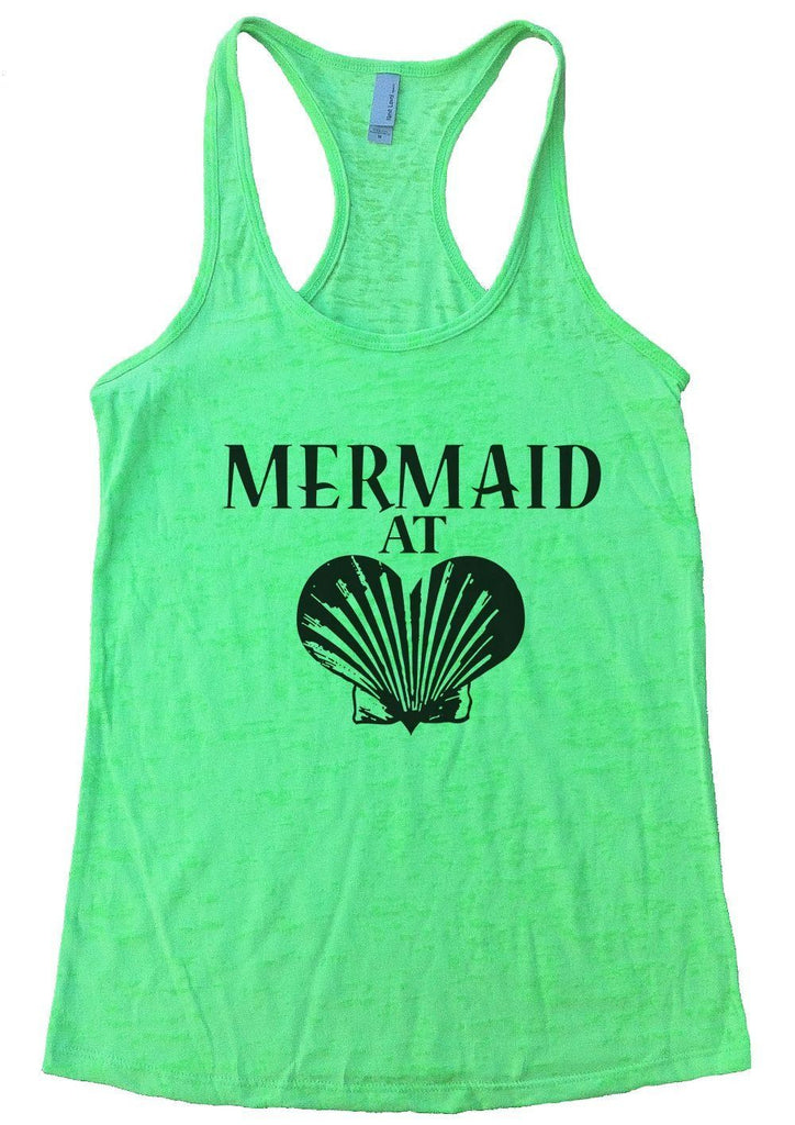 MERMAID AT LOVE Burnout Tank Top By Funny Threadz Funny Shirt Small / Neon Green