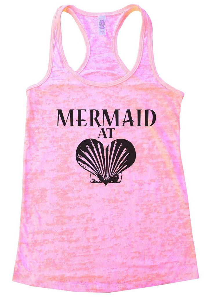 MERMAID AT LOVE Burnout Tank Top By Funny Threadz Funny Shirt Small / Light Pink