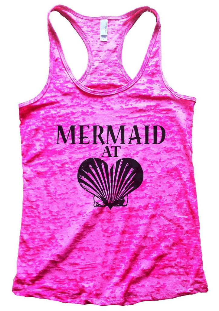 MERMAID AT LOVE Burnout Tank Top By Funny Threadz Funny Shirt Small / Shocking Pink