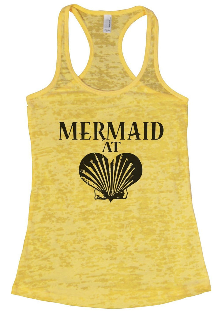MERMAID AT LOVE Burnout Tank Top By Funny Threadz Funny Shirt Small / Yellow