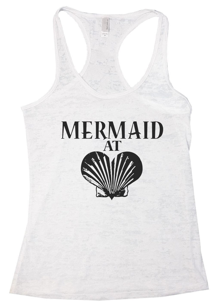 MERMAID AT LOVE Burnout Tank Top By Funny Threadz Funny Shirt Small / White