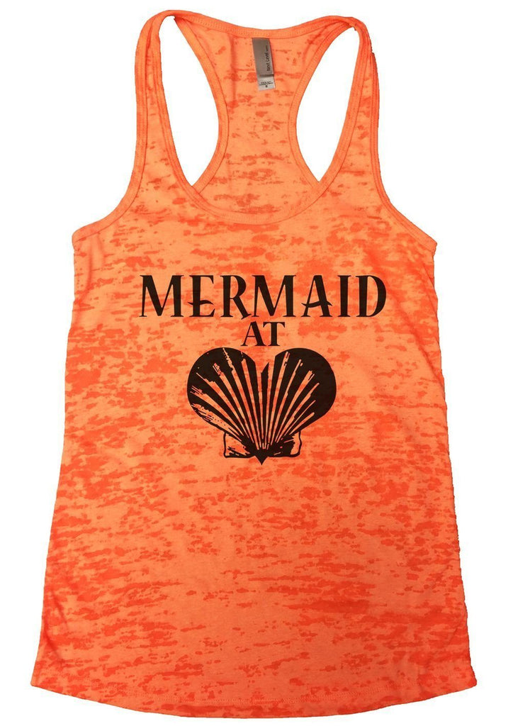MERMAID AT LOVE Burnout Tank Top By Funny Threadz Funny Shirt Small / Neon Orange