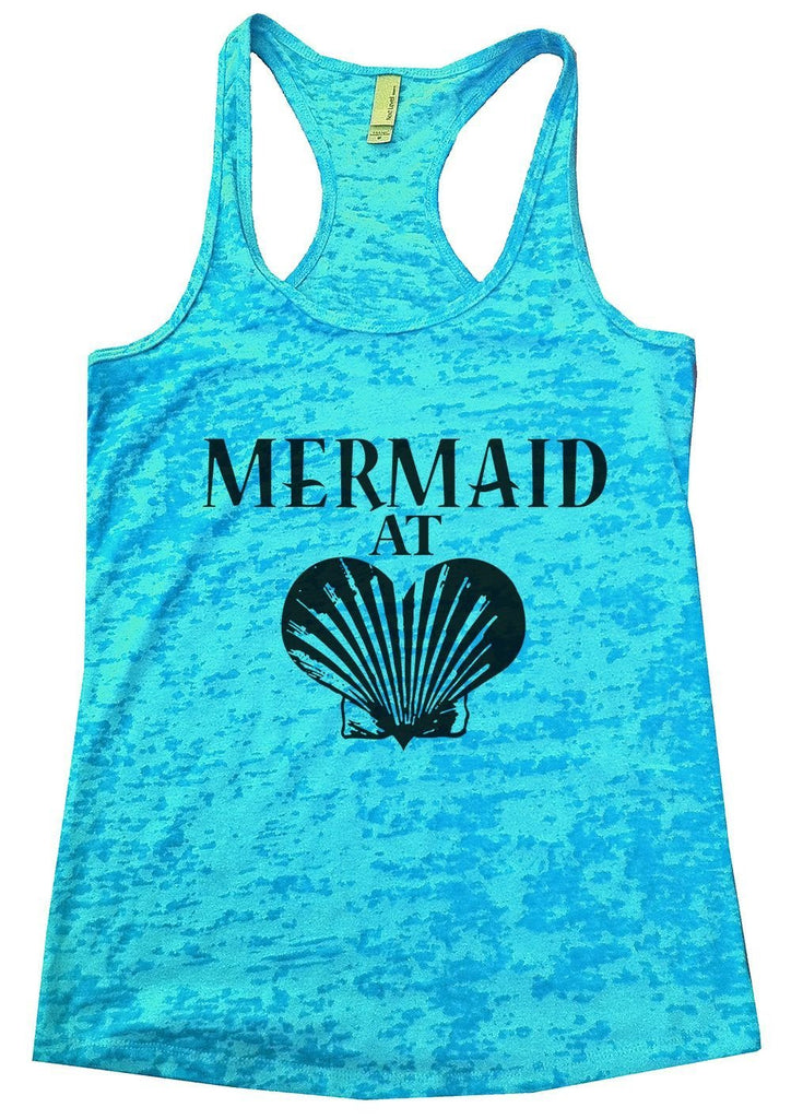 MERMAID AT LOVE Burnout Tank Top By Funny Threadz Funny Shirt Small / Tahiti Blue