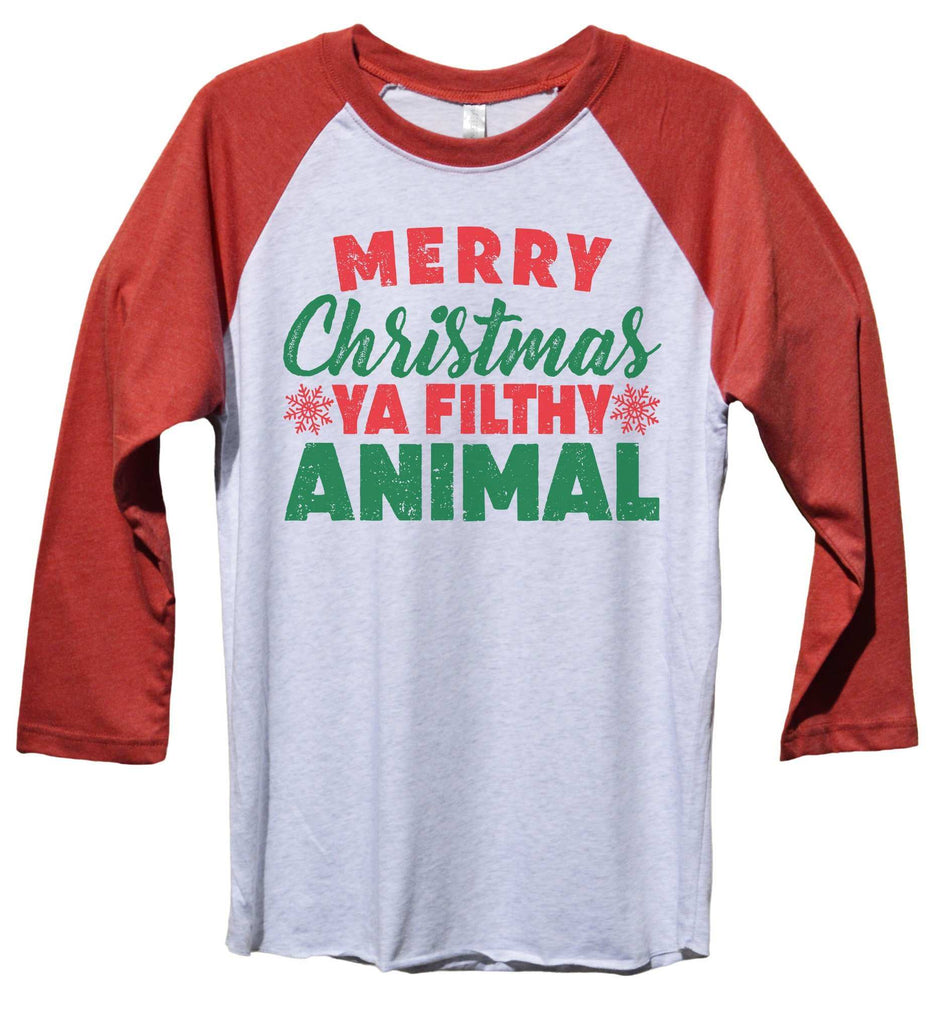 Merry Christmas Ya Filthy Animal Funny Christmas - Unisex Baseball Tee Mens And Womens Funny Shirt