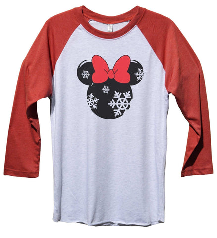 minnie mouse disney funny christmas unisex baseball tee mens and womens