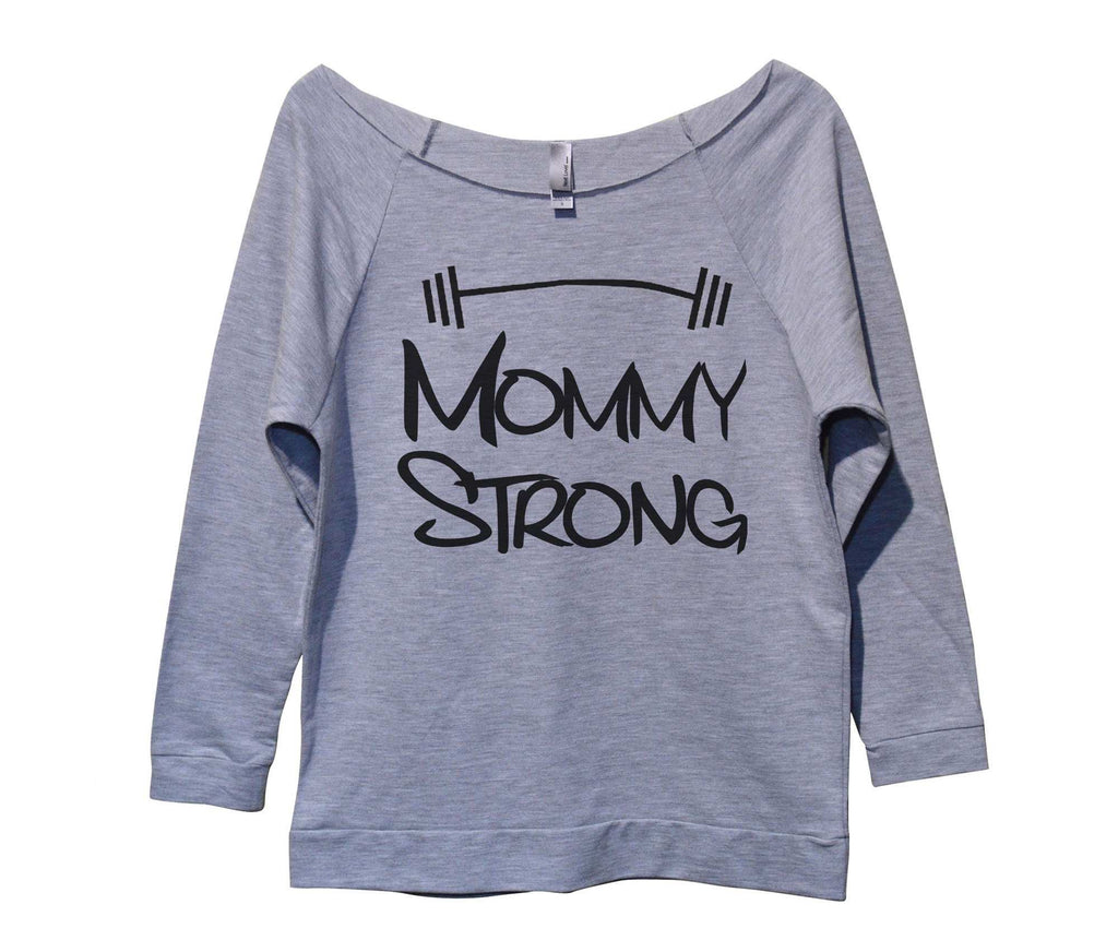 Mommy Strong Womens 3/4 Long Sleeve Vintage Raw Edge Shirt Funny Shirt Small / Grey