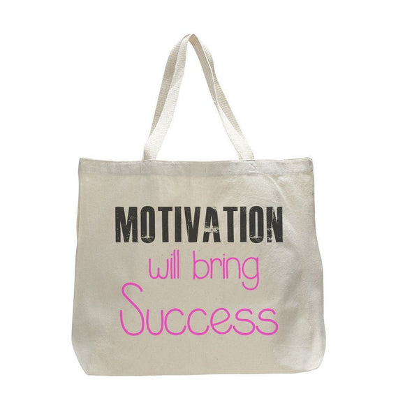 Motivation Will Being Success - Trendy Natural Canvas Bag - Funny and Unique - Tote Bag Funny Shirt