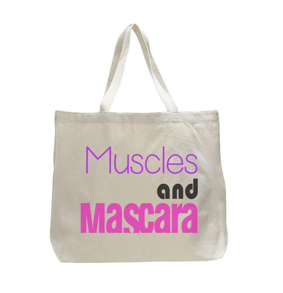Muscles And Mascara - Trendy Natural Canvas Bag - Funny and Unique - Tote Bag Funny Shirt