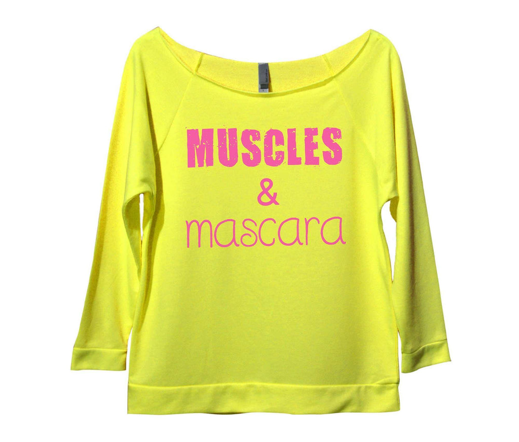 Muscles And Mascara Womens 3/4 Long Sleeve Vintage Raw Edge Shirt Funny Shirt Small / Neon Yellow
