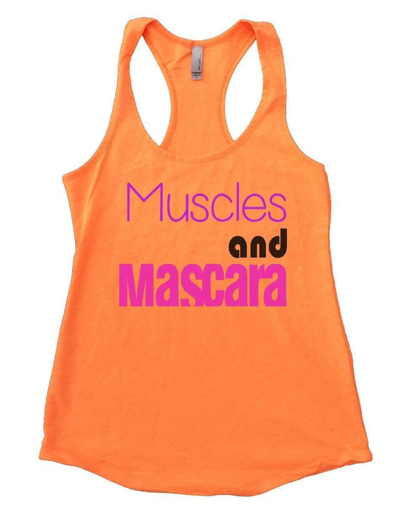 Muscles And Mascara Womens Workout Tank Top Funny Shirt Small / Neon Orange