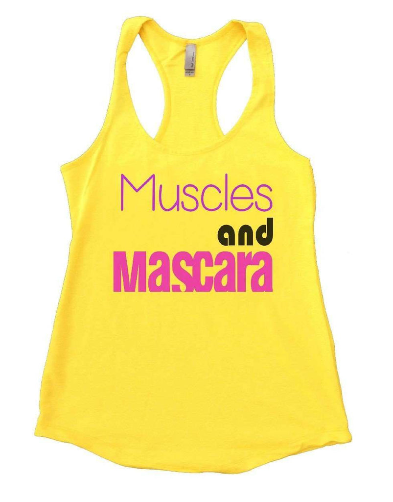 Muscles And Mascara Womens Workout Tank Top Funny Shirt Small / Yellow