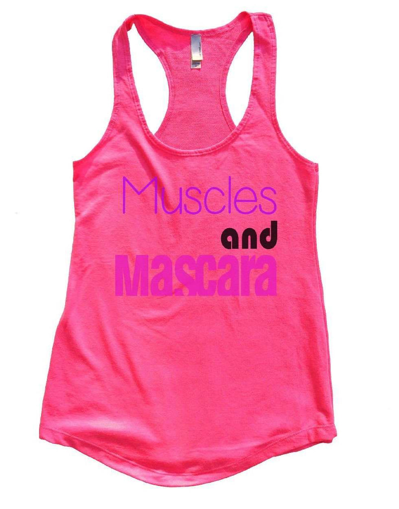 Muscles And Mascara Womens Workout Tank Top Funny Shirt Small / Hot Pink