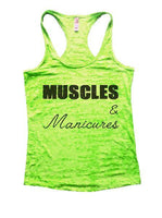 Muscles & Manicures Burnout Tank Top By Funny Threadz Funny Shirt Small / Neon Green