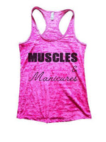 Muscles & Manicures Burnout Tank Top By Funny Threadz Funny Shirt Small / Shocking Pink