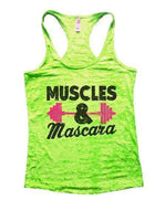 Muscles & Mascara Burnout Tank Top By Funny Threadz Funny Shirt Small / Neon Green