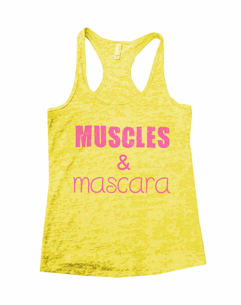 Muscles & Mascara Burnout Tank Top By Funny Threadz Funny Shirt Small / Yellow