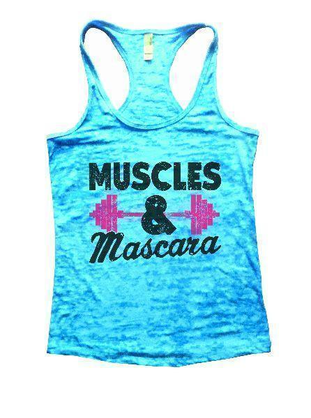 Muscles & Mascara Burnout Tank Top By Funny Threadz Funny Shirt Small / Tahiti Blue