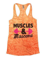 Muscles & Mascara Burnout Tank Top By Funny Threadz Funny Shirt Small / Neon Orange
