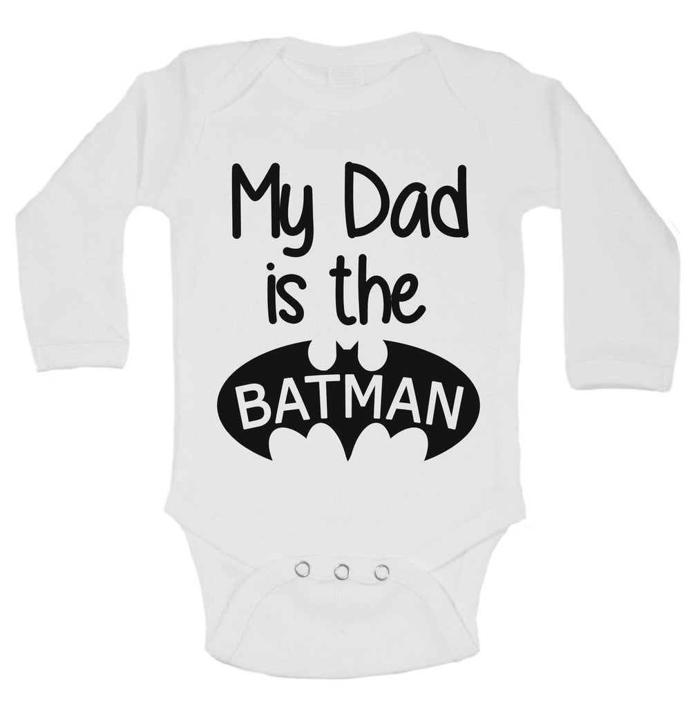 My Dad Is The Batman Funny Kids Onesie Funny Shirt Long Sleeve 0-3 Months