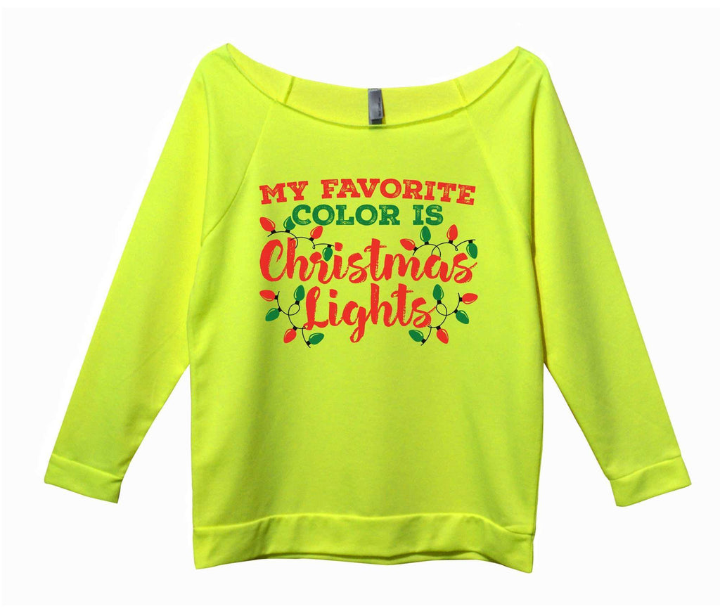 My Favorite Color Is Christmas Lights Womens 3/4 Long Sleeve Vintage Raw Edge Shirt - FunnyThreadz.com