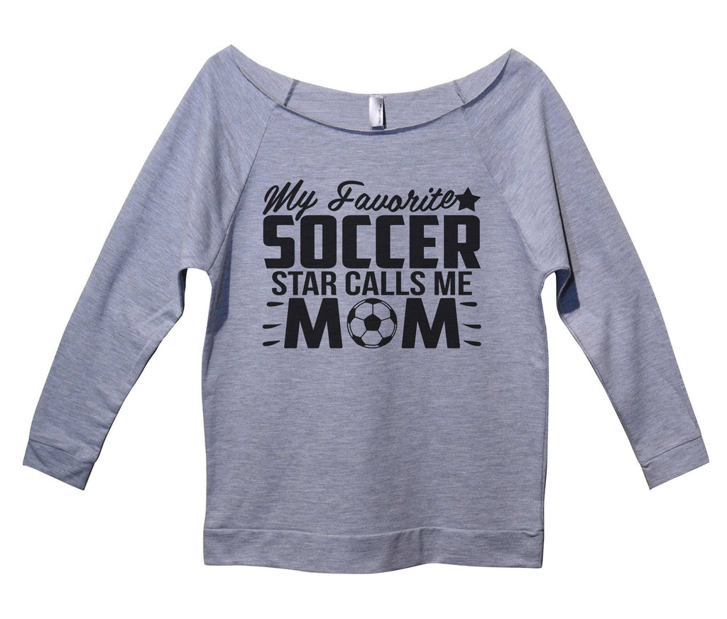 My Favorite Soccer Star Calls Me Mom Womens 3/4 Long Sleeve Vintage Raw Edge Shirt Funny Shirt Small / Grey