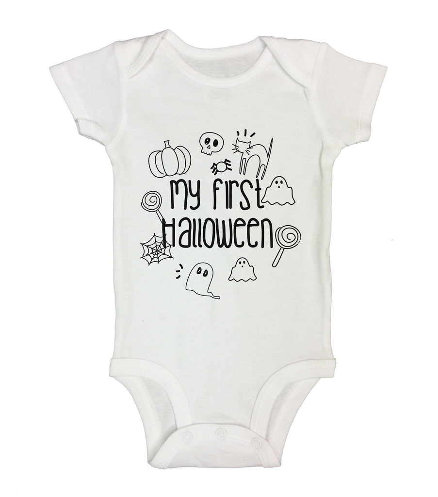 My First Halloween Funny Kids Onesie Funny Shirt Short Sleeve 0-3 Months